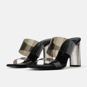 Zara NWT vinyl sandals with Methacrylate heel